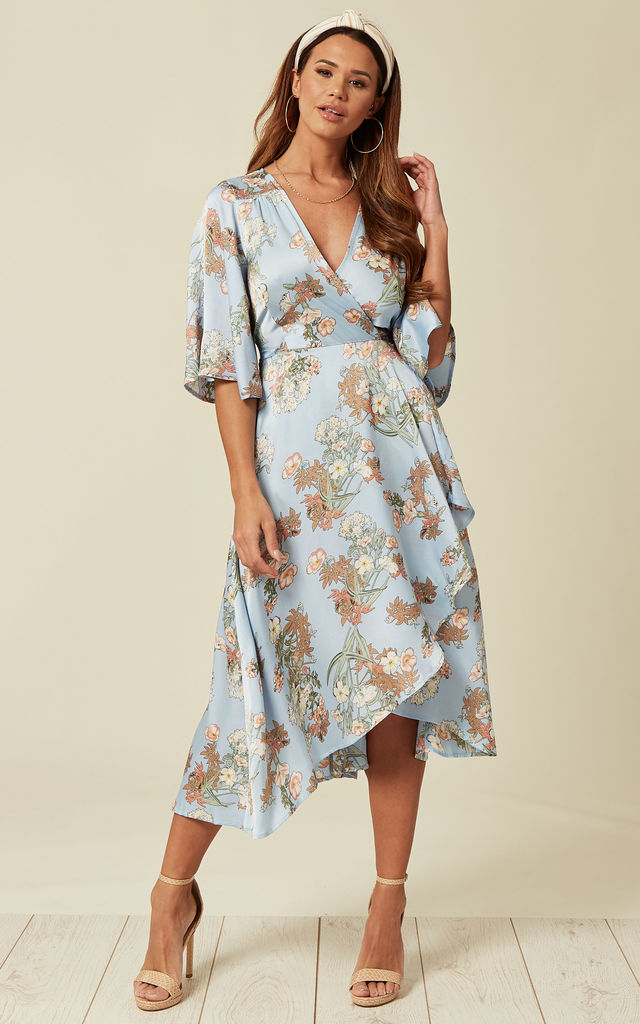 b4527f2d Light Blue Floral Dress | Liquorish | SilkFred