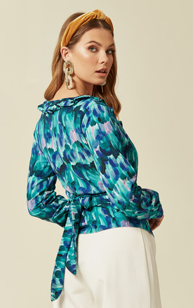 Wrap Long Sleeve Shirt with ruffles in Green/Blue Multi-Print by Prodigal Fox