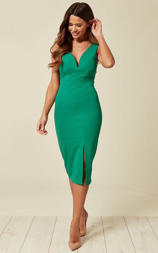 Plunge Neckline Midi Dress