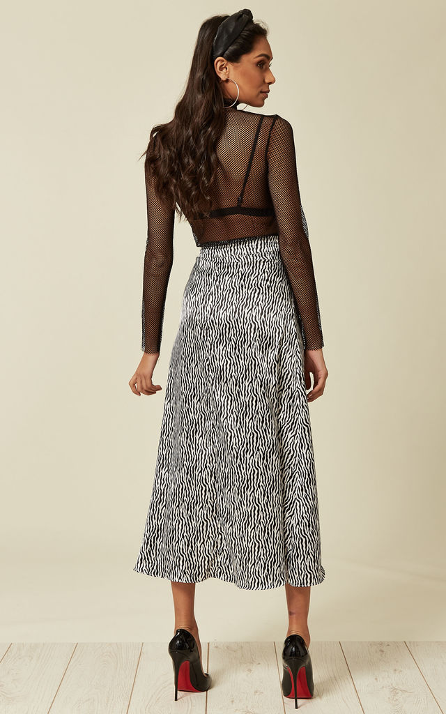 Black Zebra Print Wrap Over Skirt by Oeuvre