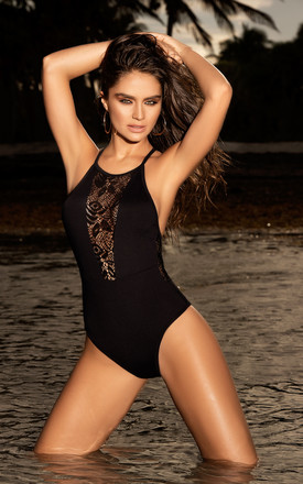 One Piece Swimsuit Black with Crochet Inserts by MAPALE