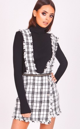 61e6726d338cb2 White Checkered Pinafore Playsuit
