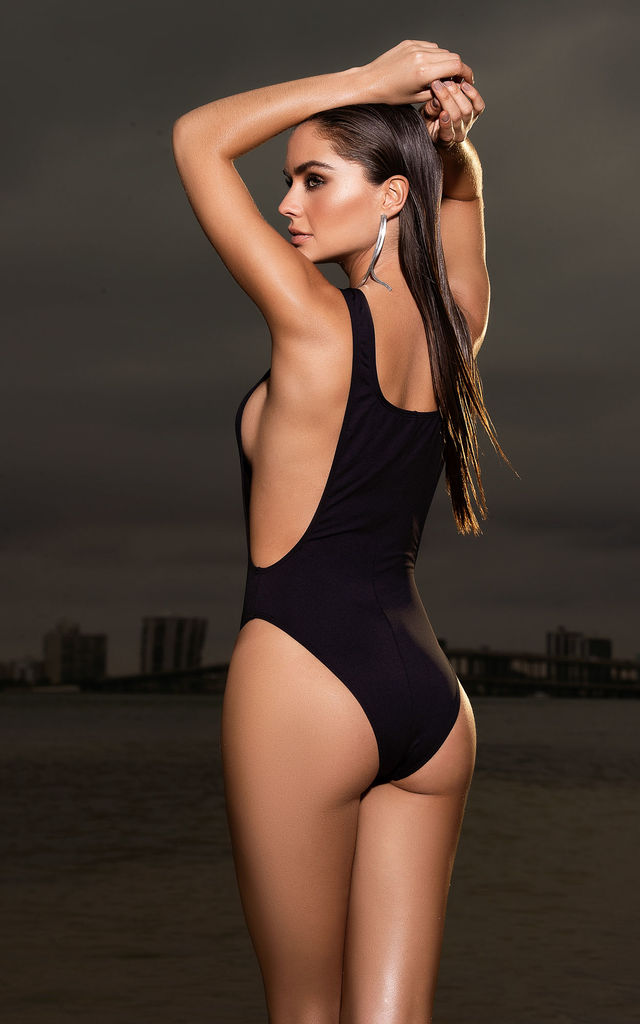 One Piece Swimsuit Black with Front Zip Detail by MAPALE