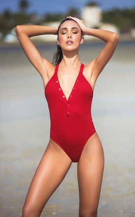 One Piece Ribbed Swimsuit in Red by MAPALE