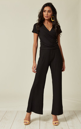 Black RIBBED OVERLAPPING TOP FRONT AND FLARED TROUSERS CO-ORD by Lucy Sparks
