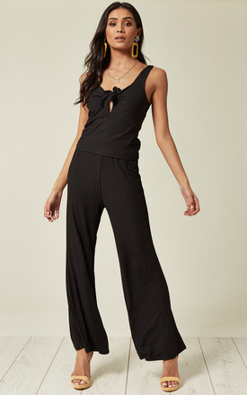 Ribbed Knit Vest Top and Trousers Co-Ord in Black by Lucy Sparks