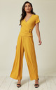 Yellow Ribbed Overlapping Top Front And Flared Trousers Co Ord by Lucy Sparks