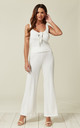 Ribbed Knit Vest Top and Trousers Co-Ord in White by Lucy Sparks