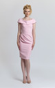 Pleated Pencil Dress in Light Pink by JEVA FASHION