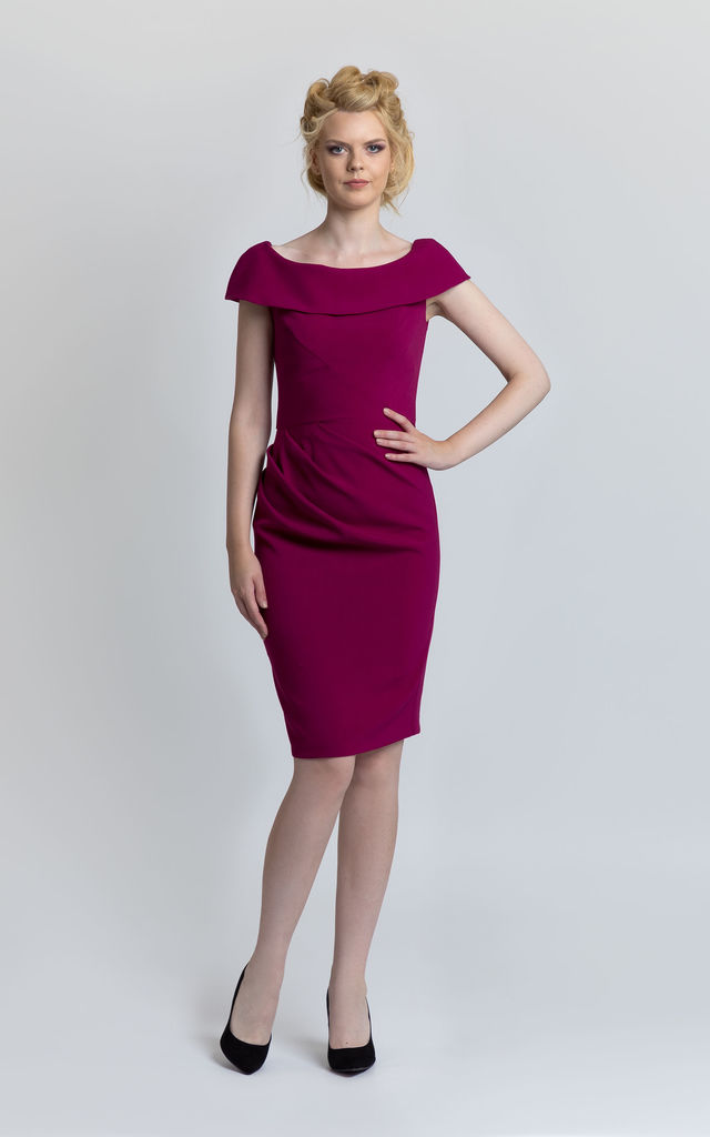 Pleated Pencil Dress in Deep Pink by JEVA FASHION