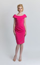 Pleated Pencil Dress in Pink by JEVA FASHION