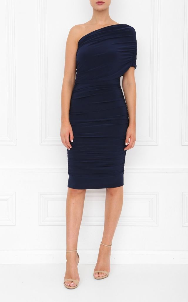 Alice Navy One Shoulder Midi Dress by Honor Gold