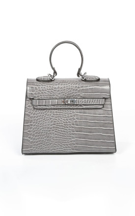 Faux Croc Skin Tote Bag In Grey by Dressed In Lucy