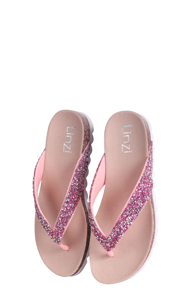 Jana Pink Diamante Toe Post Sandal With Cleated Sole by Linzi