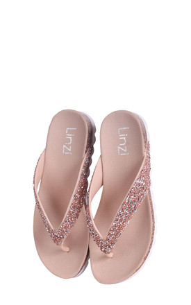 Jana Nude Diamante Toe Post Sandal With Cleated Sole by Linzi