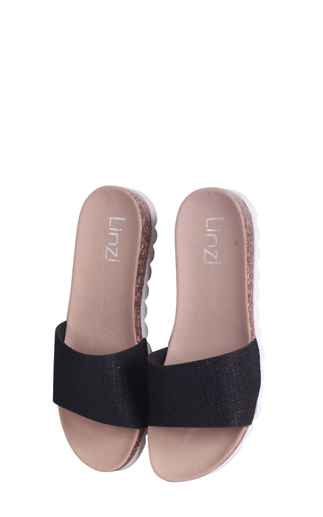 Cyprus Black Glitter Slip On Slider With White Cleated Sole by Linzi