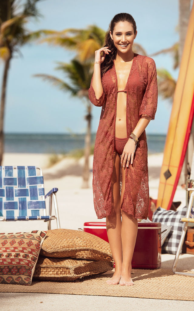 Sheer Lace Cover Up Midi Kimono in Terracotta Orange by MAPALE