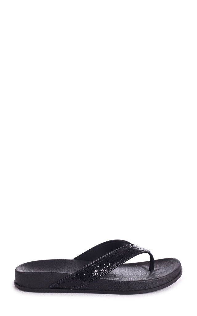 Farah Black Glitter Toe Post Style Sandal by Linzi
