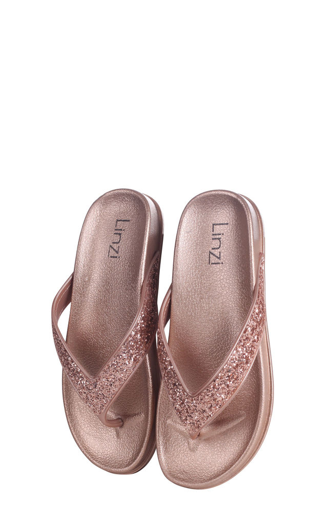 Farah Rose Gold Glitter Toe Post Style Sandal by Linzi