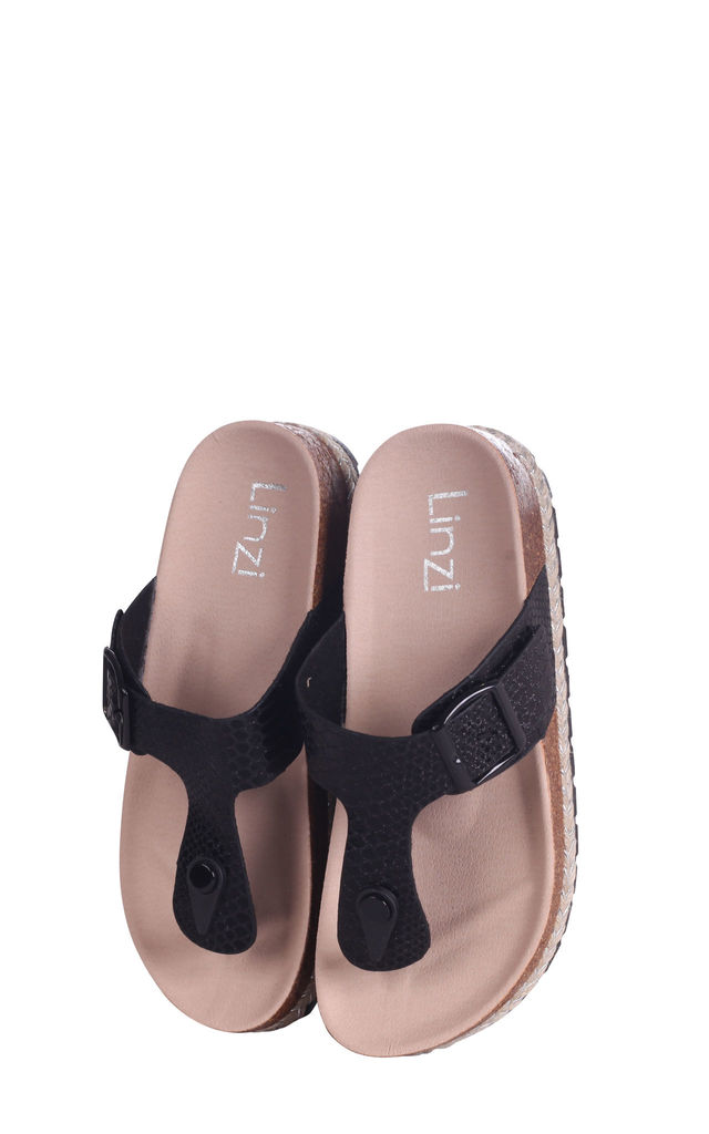 Monica Black Snake Toe Post Flatform Sandal by Linzi