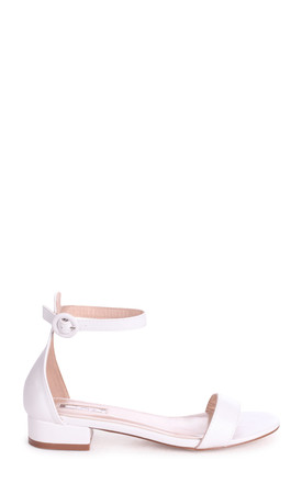 Monique White Nappa Barely There Block Heeled Sandal by Linzi