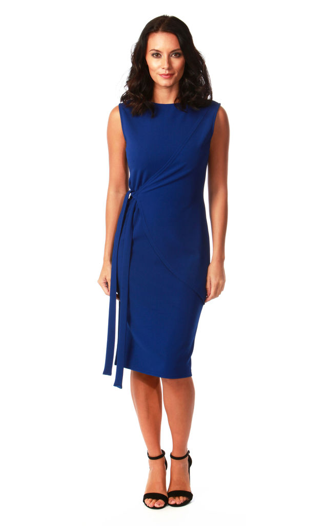 Arina Royal Blue Tie Bodycon Dress by Want That Trend