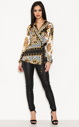 Printed Wrap Top by AX Paris