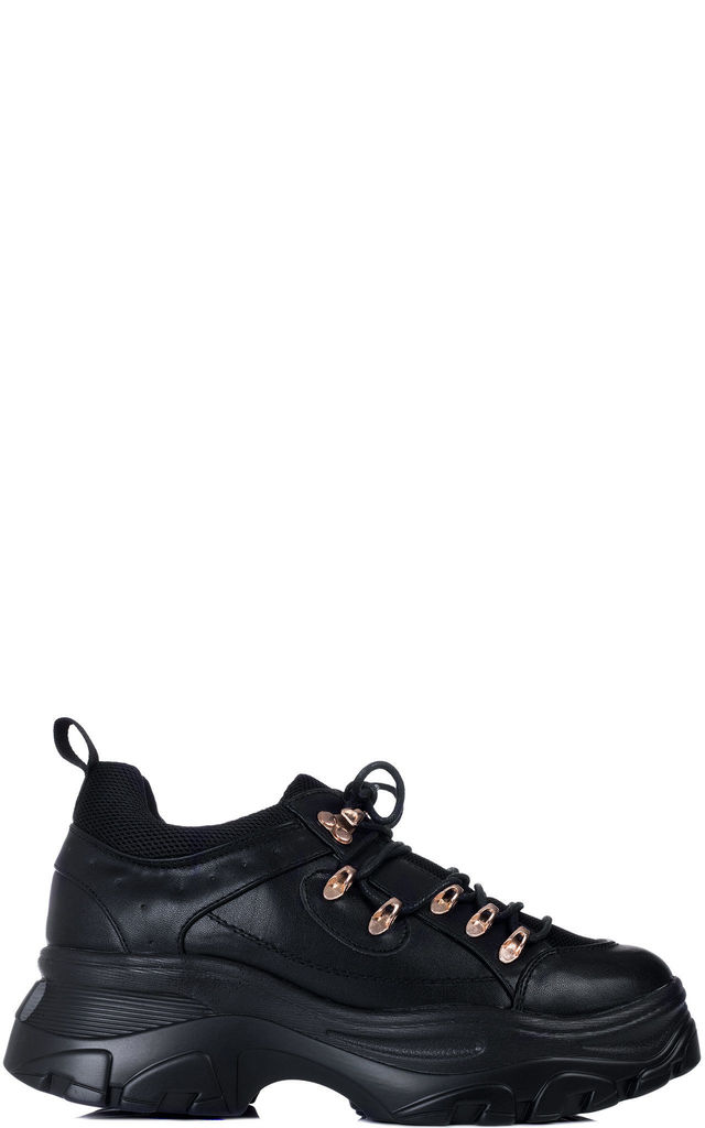 FUSION Chunky Platform Trainers - Black Leather Style by SpyLoveBuy