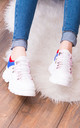 FUSION Chunky Platform Trainers - White, Blue & Red Leather Style by SpyLoveBuy