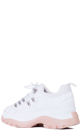 FUSION Chunky Platform Trainers - White Leather Style by SpyLoveBuy