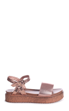 Havannah Rose Gold Shimmery And Croc Flatform with Large Front Strap by Linzi