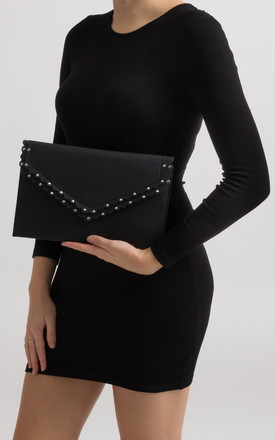 Mimi Black Scalloped Faux Leather Envelope Bag by KoKo Couture