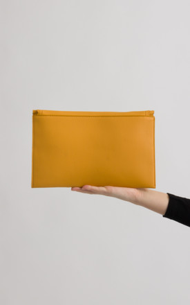 Mimi Yellow Scalloped Faux Leather Envelope Bag by KoKo Couture