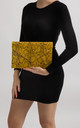 Aisha Yellow Faux Snakeskin Envelope Clutch Bag by KoKo Couture