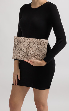 Aisha Nude Faux Snakeskin Envelope Clutch Bag by KoKo Couture