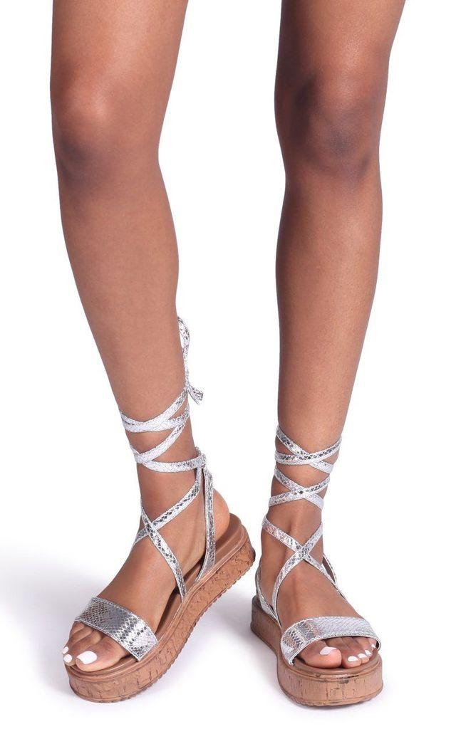 Trudy Silver Snake Tie Up Espadrille Inspired Flatform by Linzi