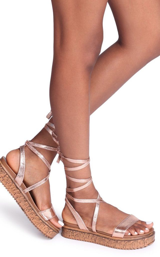 Trudy Rose Gold Tie Up Espadrille Inspired Flatform by Linzi