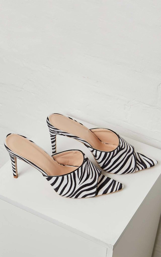 EARLA – Open Toe High Heel Zebra Print Mules by Blue Vanilla