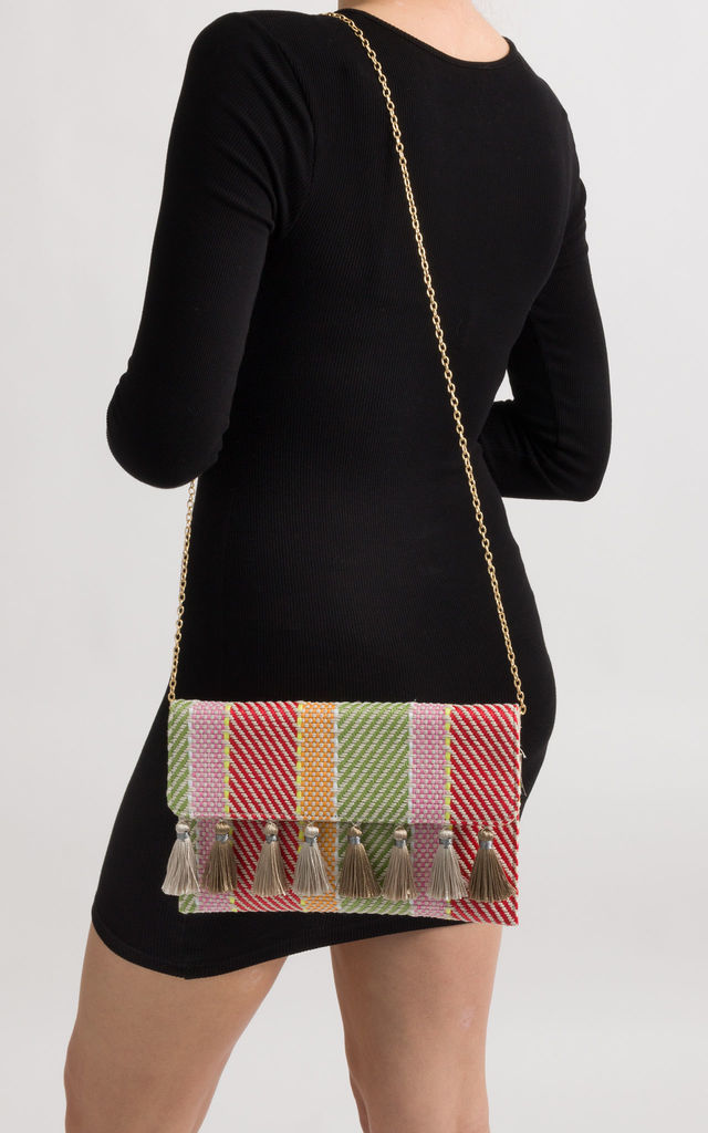 Summer Woven Tassel Foldover Clutch by KoKo Couture