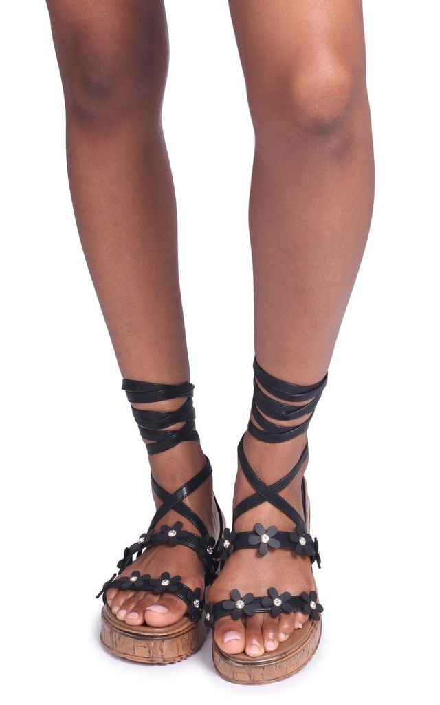 Melanie Black Nappa Tie Up Flatform with All Over Floral Detail by Linzi