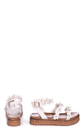 Melody White Nappa Flatform with All Over Floral Detail by Linzi