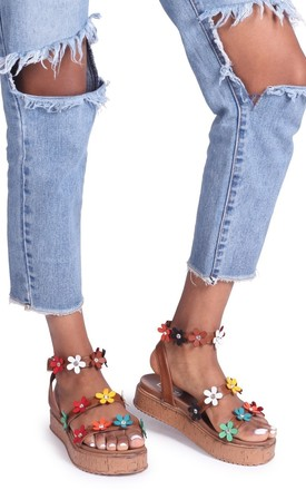 Melody Tan Nappa Flatform with All Over Floral Detail by Linzi