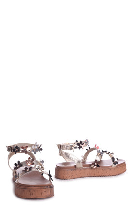 Melody Gold Nappa Flatform with All Over Floral Detail by Linzi