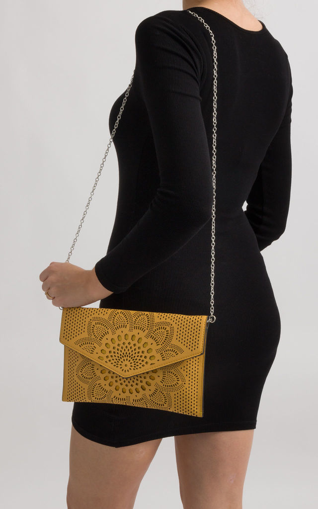 Dido Yellow Laser Cut Envelope Clutch by KoKo Couture