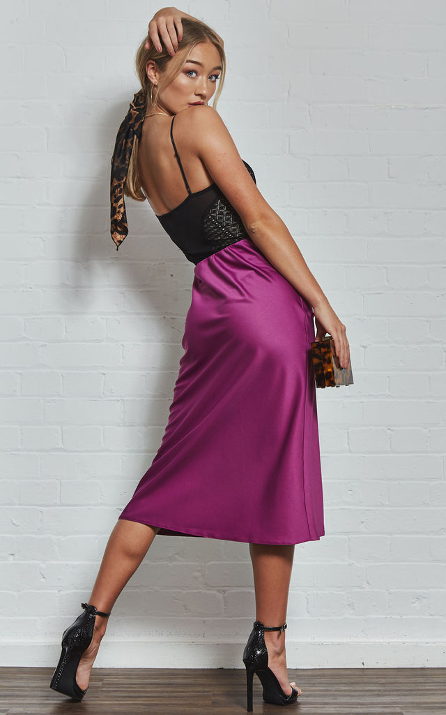 Magenta Satin Slip Skirt by India Gray