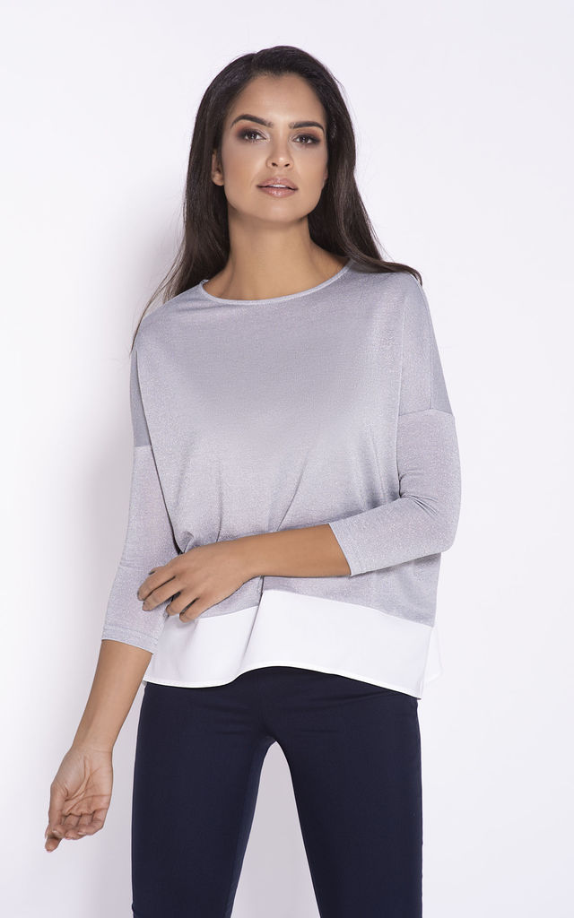 Relaxed Fit 3/4 Sleeve Blouse in Grey by Dursi
