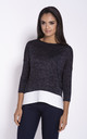 Relaxed Fit 3/4 Sleeve Blouse in Navy Blue by Dursi