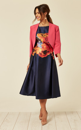 Fuchsia Jacket & Navy Floral Print Dress by De La Creme Fashions