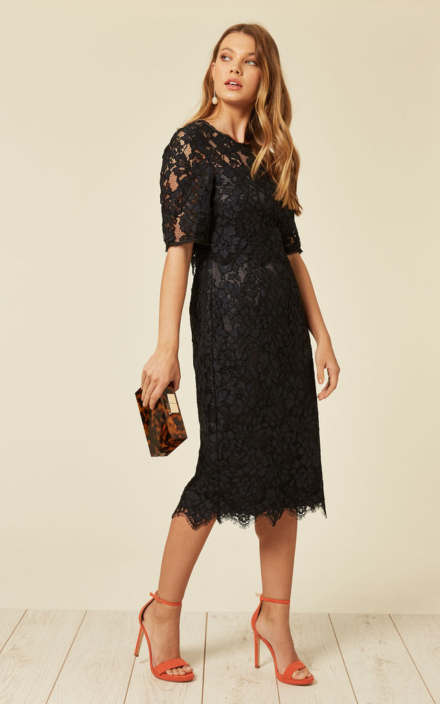 Navy Floral Lace Midi Dress by De La Creme Fashions