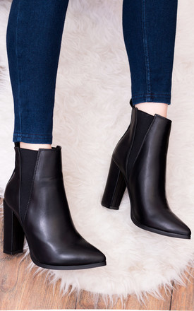 Dollie Block Heel Chelsea Ankle Boots   Black Leather Style by SpyLoveBuy Product photo